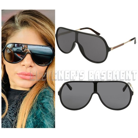 GUCCI black frame GG0199S 001 Vintage WEB temple LOGO black SHIELD Sunglasses
